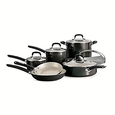 Tramontina Ceramic 11-piece Deluxe Cookware Set, Metallic Gray by Tramontina