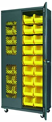 """Akro-Mils AC3618 SV240 Steel Secure View Storage Cabinet, Flush Mesh Doors, Louvered Panel and 36 Yellow AkroBins, 36"""" W x 18"""" D x 78"""" H"""