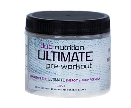 dub Ultimate Pre Workout EXTREME Energy Pump Formula, Dye Free, 0 Carbs, Builds Muscle, 60 Scoops (Grape), N.O. Boost, Niacin, AAKG, 3600mg Beta Alanine, Creatine, For men and women (Spark Drink Grape compare prices)