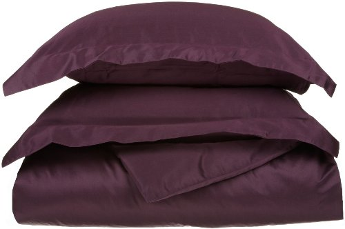 Egyptian Cotton 650 Thread Count King/California King Duvet Cover Set Solid, Plum