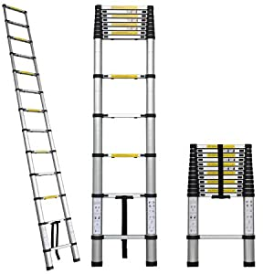12.5' Aluminum Extension Telescopic Telescoping Loft Ladder Max. Capacity 330lbs Extend Fold Portable Heavy Duty Construction Home Light Weight EN131 Std.