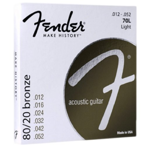 Fender Accessories 073-0070-403 80/20 Bronze Acoustic Guitar Strings, Light