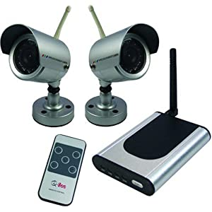 Q-See QSWOC2R 2-Pack Outdoor Wireless Night Vision Camera Kit with Receiver and Remote