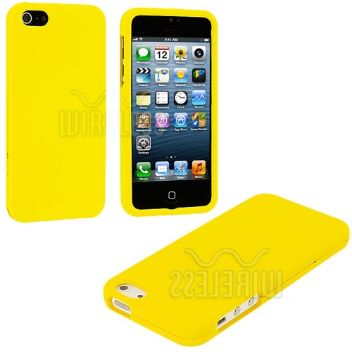 Mylife (Tm) Yellow Flat Series (2 Piece Snap On) Hardshell Plates Case For The Iphone 5/5S (5G) 5Th Generation Touch Phone (Clip Fitted Front And Back Solid Cover Case + Rubberized Tough Armor Skin + Lifetime Warranty + Sealed Inside Mylife Authorized Pac