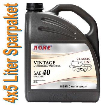 20 (4x5) Liter Sparpaket: ROWE VINTAGE SAE 40