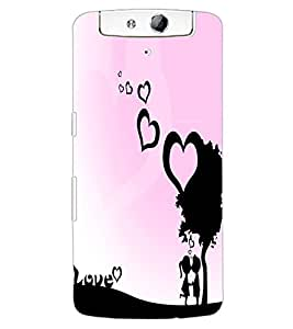 ColourCraft Love Hearts Design Back Case Cover for OPPO N1