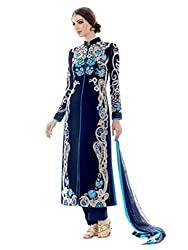 Decent World Blue Georgette Designer Dress Material