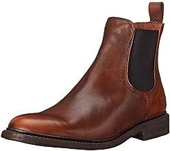 FRYE Men's James Chelsea Boot, Cognac Smooth Vintage Leather, 13 M US