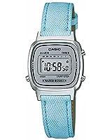 Casio - LA670WL-2A - Vintage - Montre Femme - Quartz Digital - Cadran Gris - Bracelet Cuir Turquoise