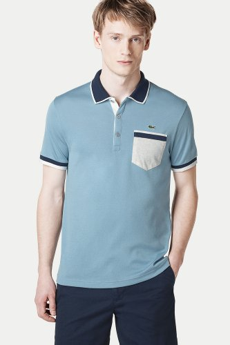 Short Sleeve Tipped Jersey Polo With Contrast Pocket
