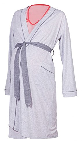 Happy Mama Maternity Gown Robe Nightie for Labour & Birth. SOLD SEPARATELY 393p (Robe - Light Grey, US 8/10, L)
