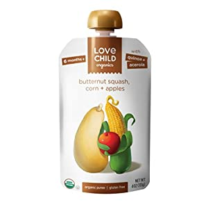 Love Child Organics - Apple, Butternut Squash & Corn Pouch - Pack of 6 Pouches