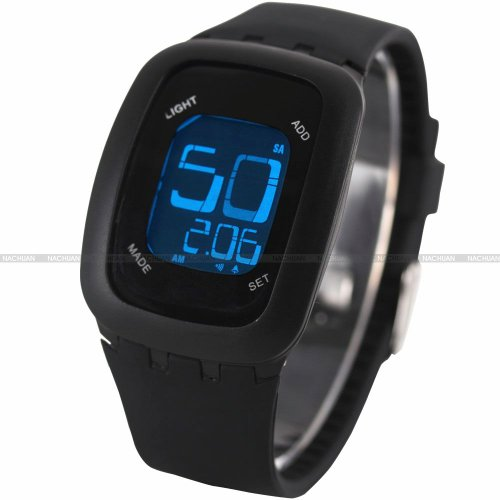 AMPM24 LCD Touch Screen Alarm Date Day Backlight Lady Mens Black Sport Silicone Watch
