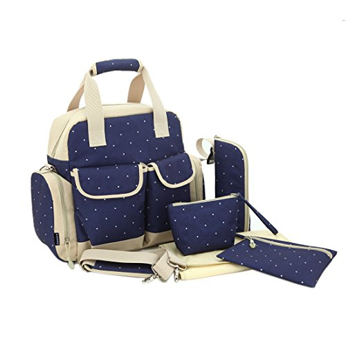 Damero Large Dots Backpack Diaper Bag 3 Carrying Options - New Version (Dark Blue)