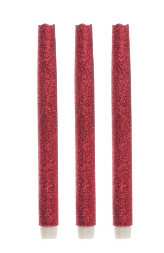 Dfl Flameless Real Wax Melted Taper Led Candle With Aa Battery ,Six Hour Timer,9-Inch, Red Sparkling Glitter ,Pack Of 3