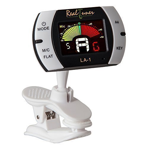 Real Tuner - Chromatic Clip-on Tuner for Guitar, Bass, Violin, Ukulele, Banjo, Brass and Woodwind Instruments - Bright Full Color Display - Extra Mic Function - A4 Pitch Calibration - Transposition (Digital Tuner Guitar compare prices)