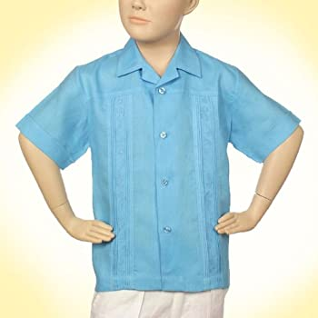 Boys linen short sleeve turquoise blue embroidered shirt.