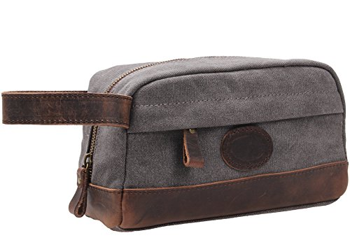 MSG Vintage Leather Canvas Travel Toiletry and Shaving Bag