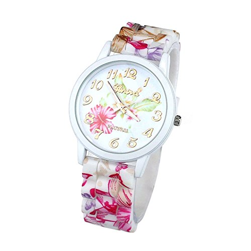 Zps(Tm) 1Pc Fashion Women Flower Printed Casual Quartz Silicone Watch Pink