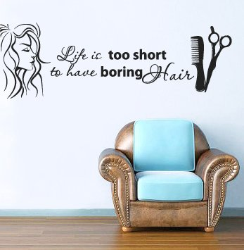Wall Decal Vinyl Sticker Decals Art Decor Design Bedroom Dorm Office Nursery Hairdresser Salon Nail Barber shop hair stylist style girls fashion Life it short to have boring hair quote wording lettering scissors hairbrush women face (r1442)