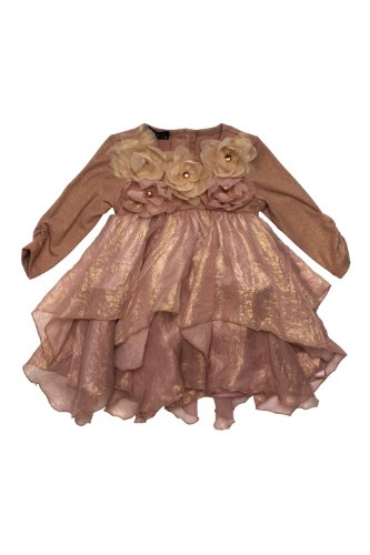 Biscotti Girls 2-6X Shimmering Rose Long Sleeve Tiered Dress in
