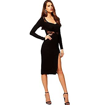 Amazon.com: Back Lace Side Split Vestido Knee Length Dress Bkyo-072