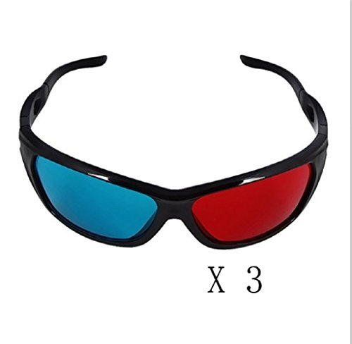 Yanseller 3 Pack Red And Cyan Anaglyph Simple Style 3D Glasses 3D Movie Game-Extra Upgrade Style front-365467
