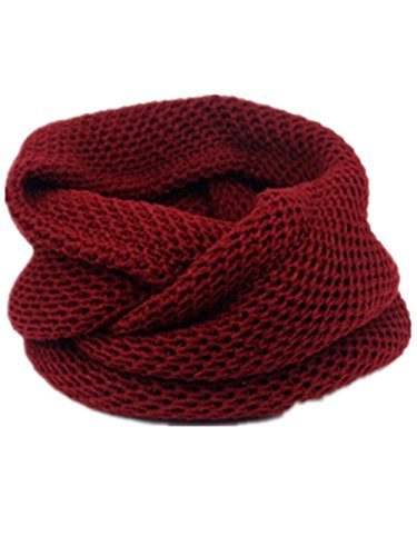 Unisex Lovers Knitted Neck Gaiter Fashion Neck Warmer Loop Scarf Wine Red