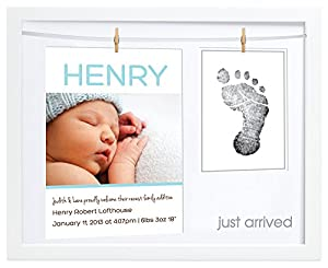 Pearhead Birth Announcement Frame, White