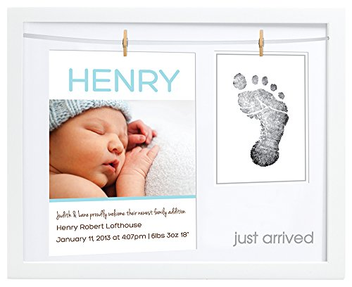 """Pearhead Birth Announcement Keepsake Frame with """"Clean-Touch"""" Ink Pad, White"""