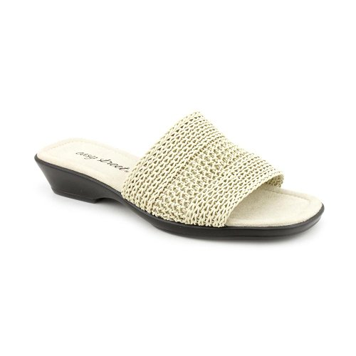Easy Street Miami Womens Size 6.5 Bone Narrow Open Toe Slides Sandals Shoes front-1015559