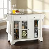 Crosley Furniture LaFayette Stainless Steel Top Kitchen Island in White Fin ....