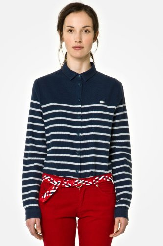 L!VE Long Sleeve Cropped Stripe Woven Shirt