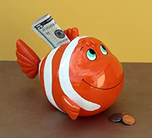 bobble tail clown fish piggy bank