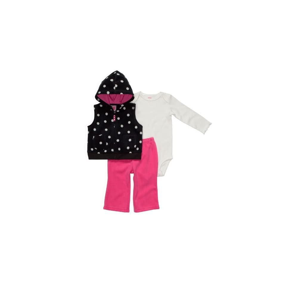 Carters Girls 3 piece Cotton/Polyester Micro Fleece Long Sleeve Hooded Vest, Bodysuit and Pant Set   Black/White/Pink Polka Dot (6 Months)