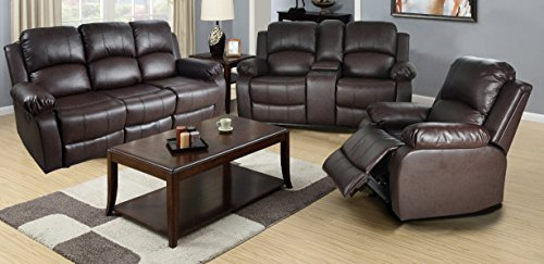 Beverly Furniture 3 Piece Leather Sofa/Loveseat/Chair Set with Drop Down Table and 5 Recliners, Brown