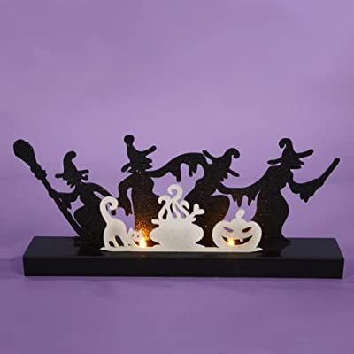 Witch Silhouette Tea Light Candle Holder Halloween Table Top Decor