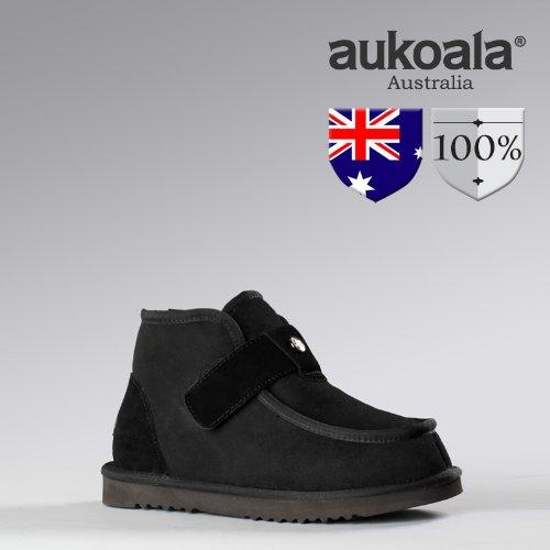 Men Boots Aukoala Australia Sheepskin Gladiator Mini Winter Boots Black(10)