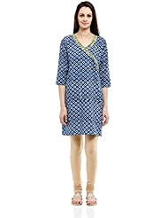 Fabindia Women's Hand Block Printed Kurta With Embroide Sleeve