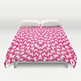 Society6 - Psychedelic Neon Pink Abstract Geometric Pattern Duvet Cover by Girly Road