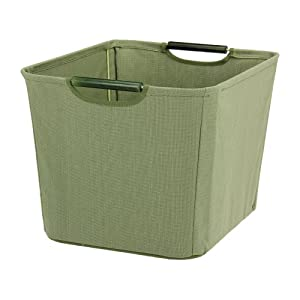 Household Essentials Open Tapered Bin with Wood Handles, Medium, Green