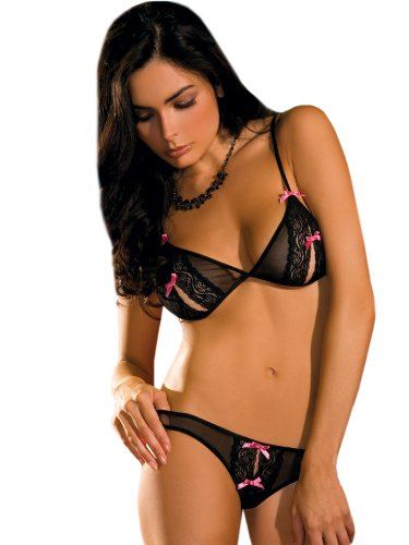 Sexy Black Lace Peek-a-Boo Bra and Crotchless Thong 2 Piece Set Sizes: Small-Medium