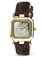 Autograph Diamanté Square Face Strap Watch