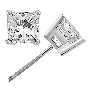 3.00ct. Princess Cut Diamond Stud Earrings 18k White Gold (H-I, SI2-3)