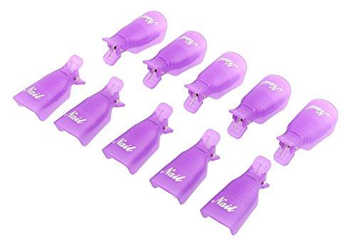 Ama-ZODE-Capuchons pour retrait de Vernis gel soak off UV gel Acrylique 10 pièces aubergine