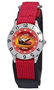 Disney Kids' D807S505 Lightning McQueen Time Teacher Red Velcro Strap Watch