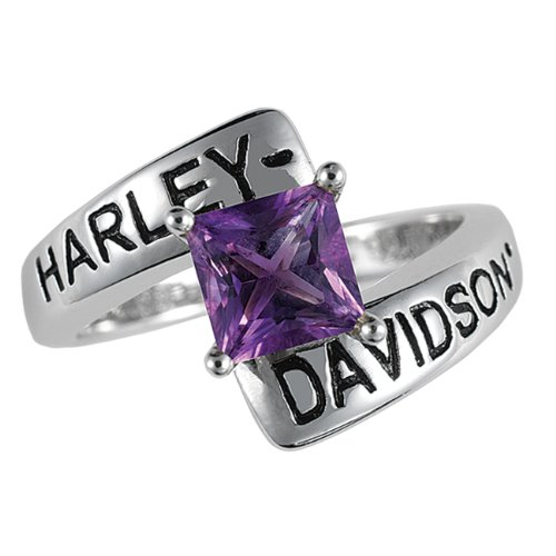 Sterling Silver Harley-Davidson Ladies Crossroads Birthstone Ring - February Amethyst