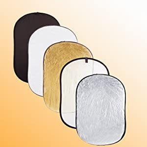 ePhoto REF4366 43x 66-Inches Extra Large Oval 5 in 1 Reflector Panel Kit with Black, White, Silver, Gold and Translucent