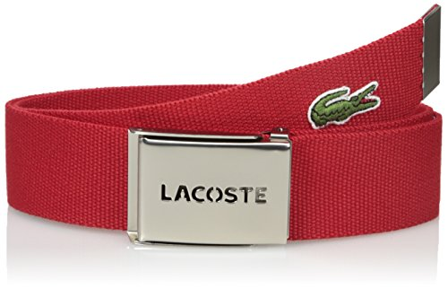 Lacoste Men's Sportswear Textile Belt with Signature Croc Logo, Red, 33 (Lacoste Belts compare prices)