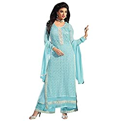Bhelpuri Women Light Blue Net Georgette Dress Material